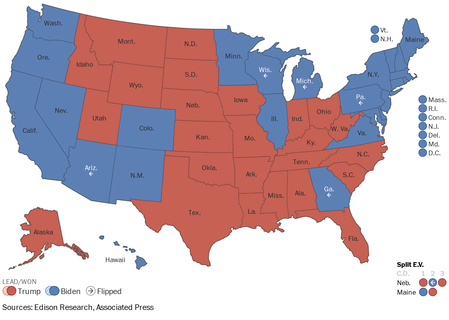A map showing which states are leading or won by Joe Biden or Donald Trump.
