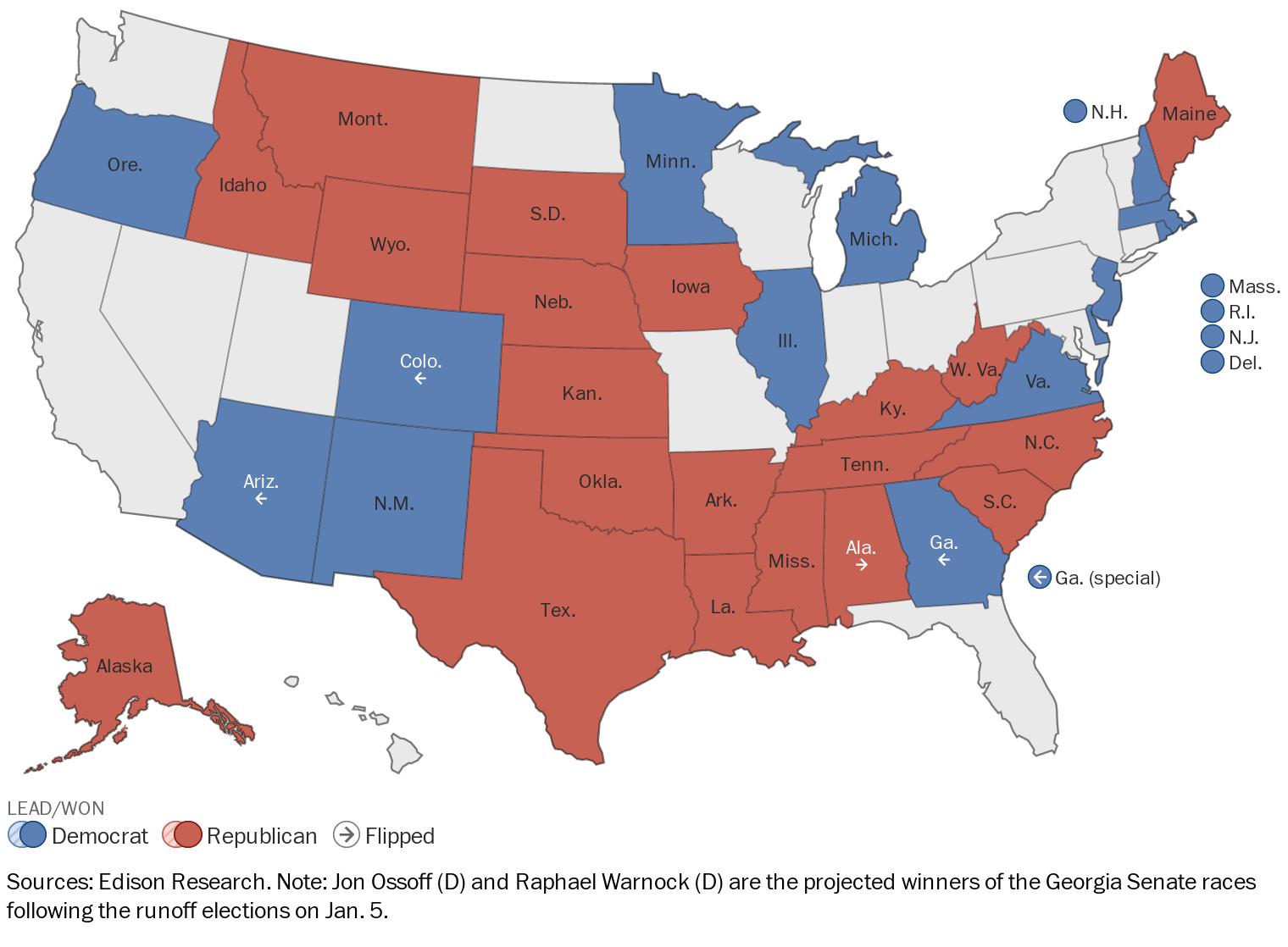A map showing which party is leading or won the Senate race in each state.